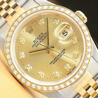 $ CDN8645.83 • Buy Rolex Mens Datejust 16233 18k Yellow Gold Stainless Steel Diamond Watch