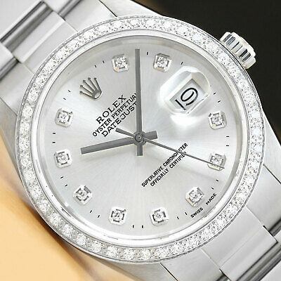 $ CDN7141.99 • Buy Mens Rolex Datejust Silver Diamond 18k White Gold Bezel & Stainless Steel Watch