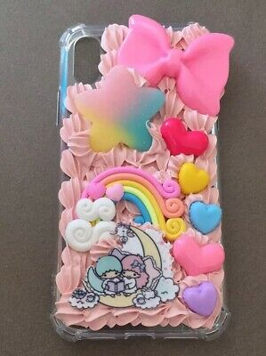 Custom IPhone XS Twin Stars Kawaii Decoden Bumper Whipped Cream Phone Case • 21.71£