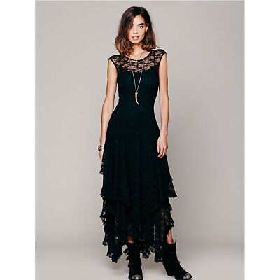 Lace Sexy High-Low Long Formal Dress Evening Cocktail Party Tunic Dress Women'S • 19.29£