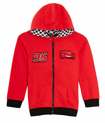Disney Cars Boys Hooded Jacket Lightning McQueen Kids Zip Hoodie Jumper Size • 12.95£