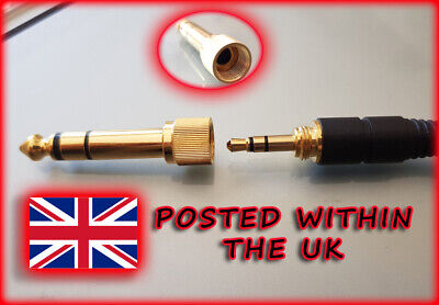 3.5mm MINIJACK TO 6.35mm 1/4  JACK SCREW ON THREADED HEADPHONES ADAPTER PLUG • 2.95£