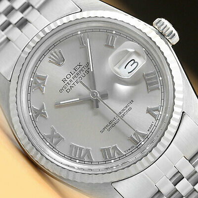 $ CDN5213.56 • Buy Mens Rolex Datejust Quickset Gray Roman Dial 18k White Gold & Steel Watch