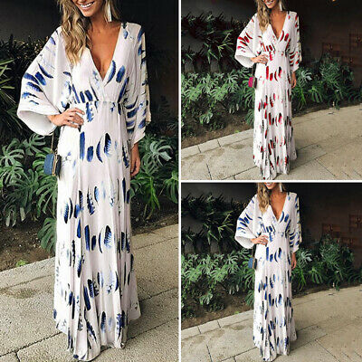 AU16.99 • Buy Womens Loose Summer V Neck Beach Holiday Evening Dresses Floral Maxi Dress New