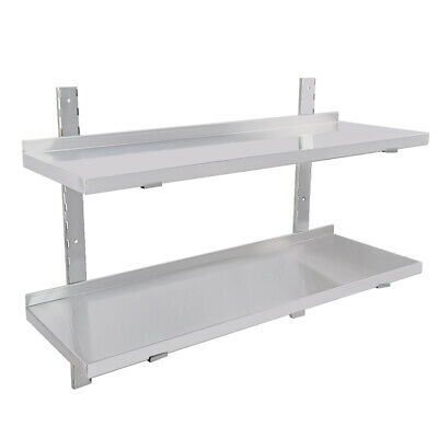 Stainless Steel Wall Shelf 2x Commercial  Kitchen Shelves 100/120cm Wall Mount • 69£