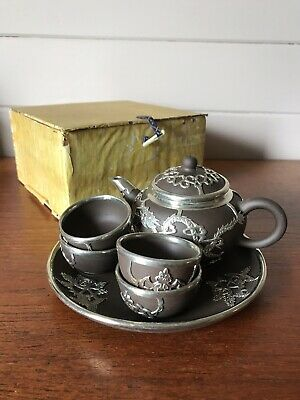 AU160 • Buy Vintage Cased Chinese Yixing Tea Set Teapot And Cups And Tray Metal Bound Dragon