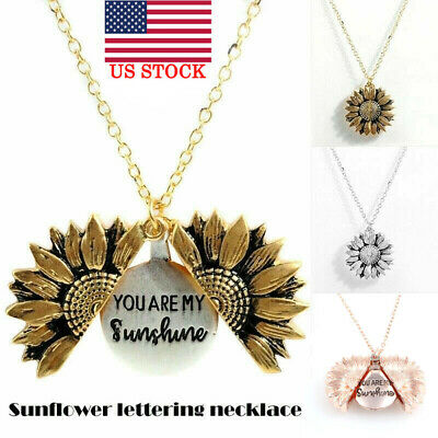 You Are My Sunshine  Open Locket Sunflower Fashion Pendant Necklace Women Gifts • 7.01$