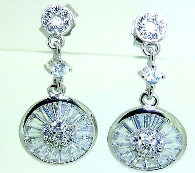 925 Sterling Silver Simulated Baguette  Cut  Diamond Round Stud Drop Earrings • 14.24£