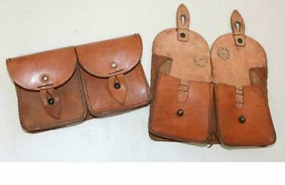 GRADE 2 Vintage French Army Surplus Double All Leather Ammo Ammunition Pouch • 10.99£