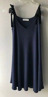 $26.39 • Buy Zara Knit Navy Blue Black Tie Sweater Dress Small Ribbed