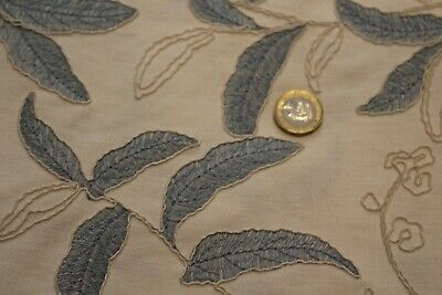 Embroidered Linen Fabric Leaf Design, £6.95/1/2m 1.40m/55  Wide • 6.95£