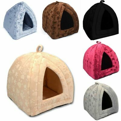 Pet House Cave Fleece Padded Bedding Dog Puppy Cat Bed Igloo Warm Washable House • 9.39£