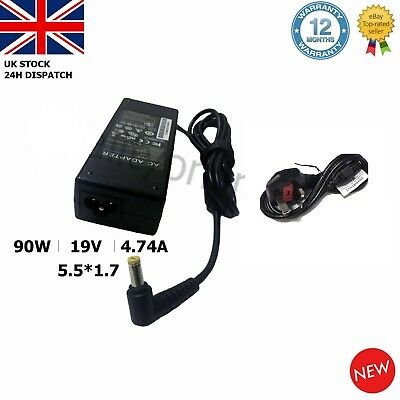 19V 4.74A 5.5*1.7mm Acer Aspire Laptop Charger Adapter Power Supply AP12AD02 + • 9.84£