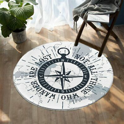 Compass Nautical Map Navy Blue White Round Rug Carpet Living Map Room Bedroom  • 24.99£