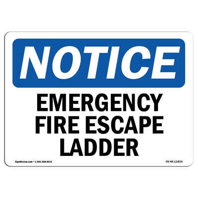 OSHA Notice - Emergency Fire Escape Ladder Sign | Heavy Duty Sign Or Label • 24.59£