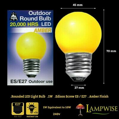 AU11.98 • Buy Bell 1 Watt ES E27 Amber Outdoor Round Bulb Led