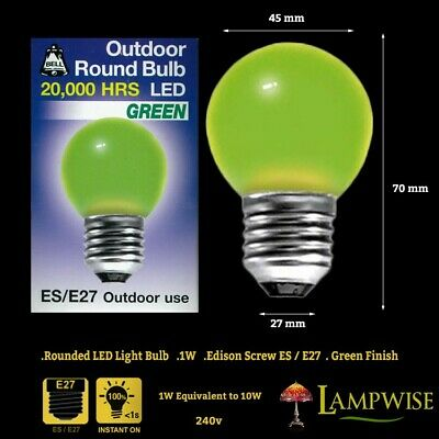 AU11.98 • Buy Bell 1 Watt ES E27 Green Outdoor Round Bulb Led