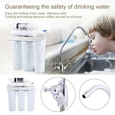 6 Stage Under Sink Drinking Water Filter System Tap Faucet Accessories Kit • 37.85£