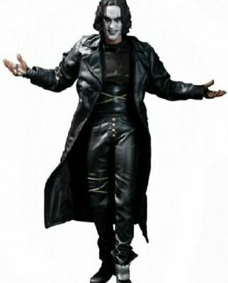Steampunk Gothic The Crow Eric Draven Coat Men Black Leather Trench Coat Jacket  • 110£