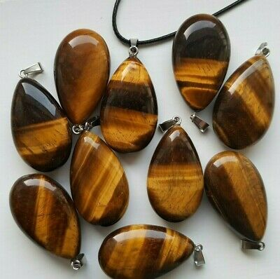 Tigers Eye High Quality Smooth Stone Drop Necklace Large XL Pendant 20x40mm  • 5.69£