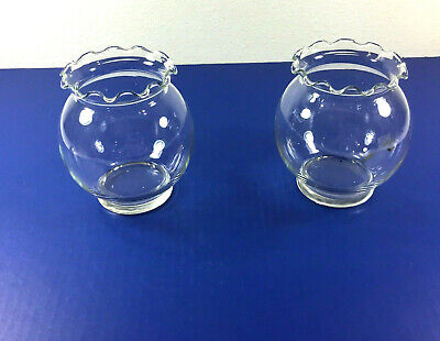 $14.99 • Buy Set Of 2 Clear Glass Floating Candle Rose Flower Bowl Vase Scalloped Edge