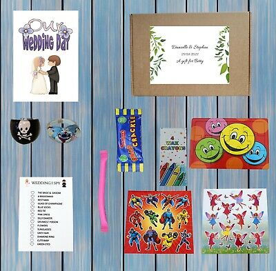 £2.45 • Buy Personalised Childrens Kids Wedding Activity Pack Party Bag Favour Kraft Box 12