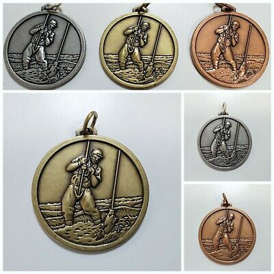 £4.25 • Buy Gold Silver Bronze Fishing Medal Angling Attractive Engraved Sterling Fob Stg