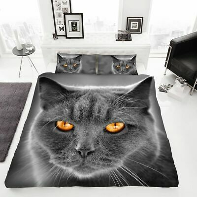 Luxurious Cat Grey 3D Style Duvet Cover Sets Reversible Kittens Bedding Sets DL • 16.90£