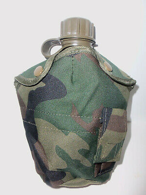 $ CDN15.67 • Buy NEW Tactical Military 1qt Canteen Cover W Alice Clips & Side Pouch WOODLAND CAMO