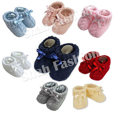Baby Boys Girls 1 Pair Knitted Booties Soft Newborn Knitted Booties With Bow 354 • 2.99£