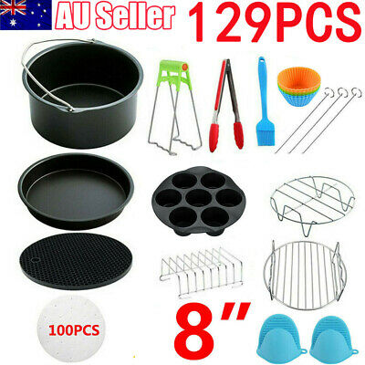 AU23.99 • Buy 129PCS 8  Air Fryer Frying Cage Dish Baking Pan Rack Pizza Tray Pot Accessories