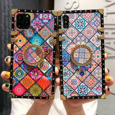 For IPhone 11 Pro Max XS XR 6s 7 8 Plus Square Flower Stand Holder Case Cover • 7.31£