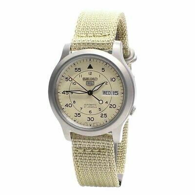 $ CDN117.49 • Buy Seiko 5 Snk803k2 Men's Beige Fabric Band Military Dial Automatic Watch Gift