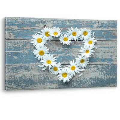 Daisy Flowers Heart Shape Wood Large Canvas Wall Art Picture Print Bathroom Bed • 14.95£
