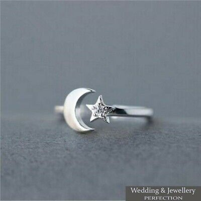 100% 925 Sterling Silver Ring Star & Moon Band Open Finger Toe Fully Adjustable  • 7.95£
