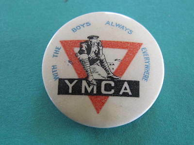 AU22.50 • Buy WW1 YMCA Seated Soldier Red Triangle Pinback Badge
