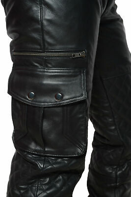 £84.99 • Buy Mens Leather Cargo Quilted Pant Real Leather Biker Pant All In Size New
