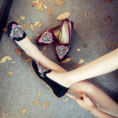 Chinese Ladies Silk Embroidered Shoes Casual Slope Heel Satin Shoes Plus Size • 10.94£