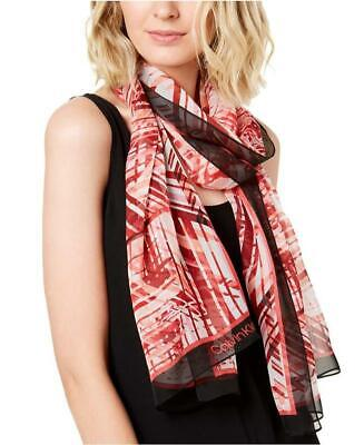 Calvin Klein | Abstract Silk Chiffon Scarf | Pink | OSFA • 12.08£