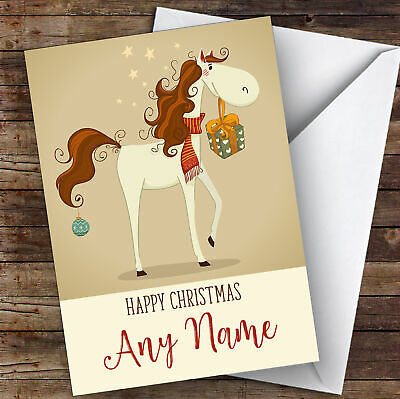 £3.79 • Buy Horse With Gifts Modern Personalised Christmas Card