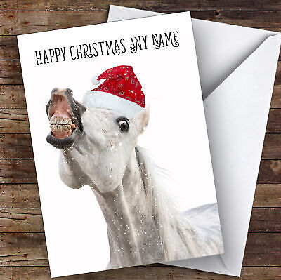 £3.79 • Buy Funny Horse Smiling Animal Personalised Christmas Card