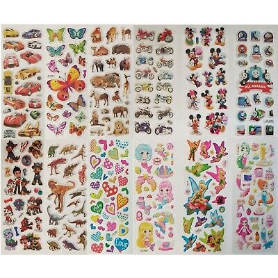 Childrens Party Bag Stickers Sheets Kids Many Designs 3D Puffy Scrap Book Play • 0.99£