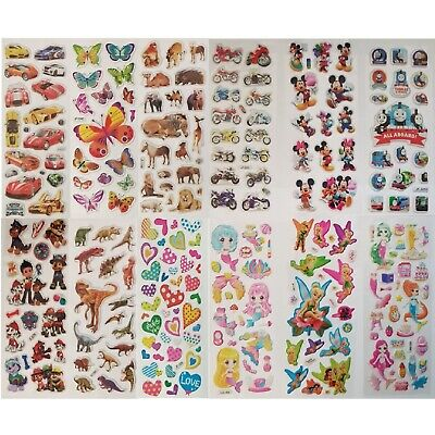 £2.99 • Buy Childrens Party Bag Stickers Sheets Kids Many Designs 3D Puffy Scrap Book Play