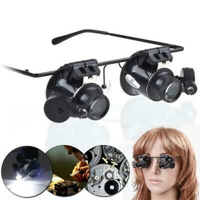 LED 20X Magnifier Magnifying Dual Eye Glasses Loupe Lens Jeweler Watch Repair HS • 4.19£