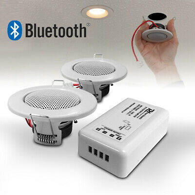 Bluetooth Ceiling Speakers Complete Installation Kit Easy Install Downlight Size • 61£