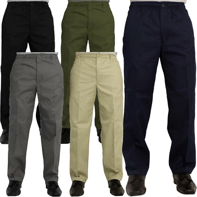 Mens New Elasticated Waist Casual Rugby Trousers Smart Work Pants Size • 12.75£