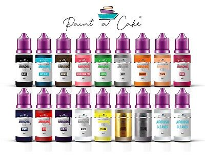 Set Of 16 Airbrush Food Colours Paints For Cake Decorating 2 X Cleaner UK • 29.90£