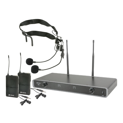 Chord Dual UHF Beltpack Headset Wireless Microphone System CH38 611.775 + 613.82 • 105£