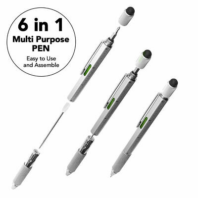 6 In 1 Handy Pen Multi Tool Gadget Stylus Ruler Screwdriver Spirit Level Pen  • 3.99£