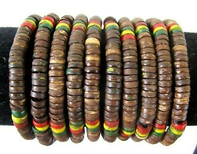$14.99 • Buy 10 Rasta Reggae Bracelet Natural Brown Wood Bead Elastic Stretch Wholesale Lot